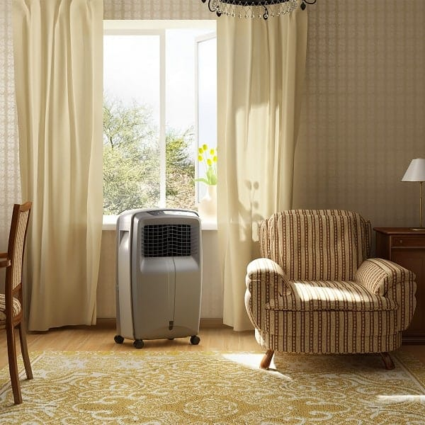 Mobile evaporative cooler in living room