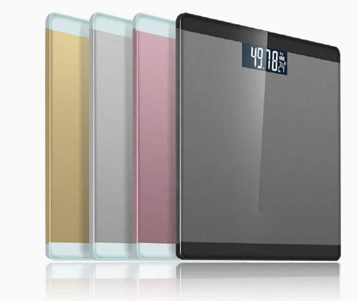 Picture of four differently colored body fat scales